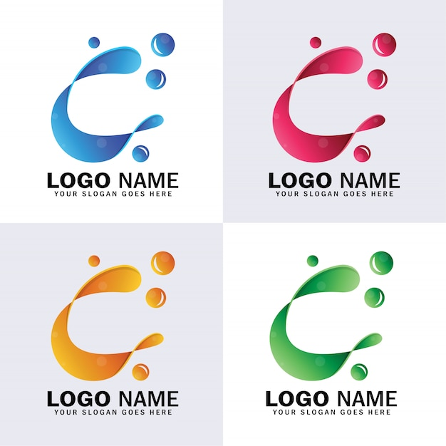Lettre c logo abstrait, c initial avec logo bulles d'eau Vecteur Premium