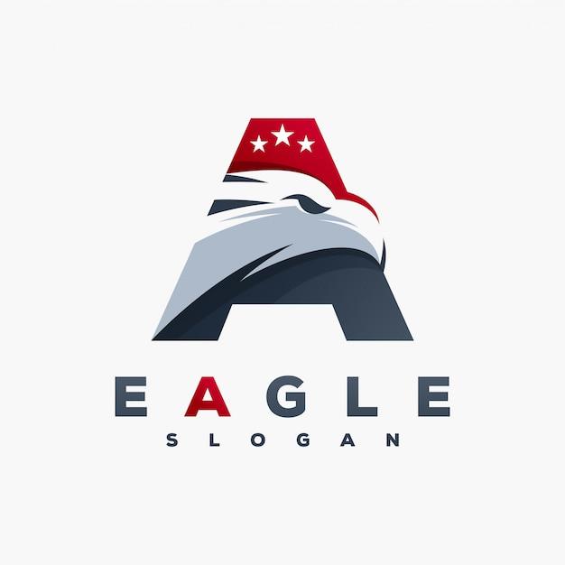 Lettre a logo aigle prêt à l'emploi Vecteur Premium