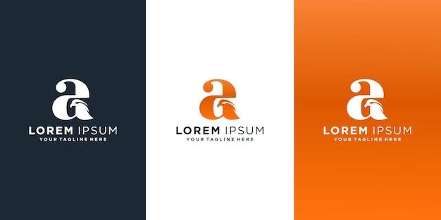 Lettre A Avec Logo Aigle Vecteur Premium