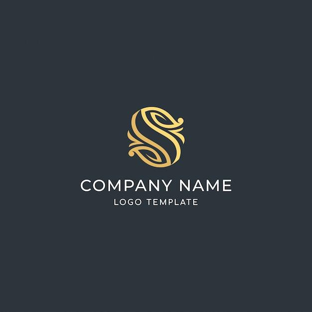 Lettre de luxe signé s. avec marque de la feuille. logo premium Vecteur Premium