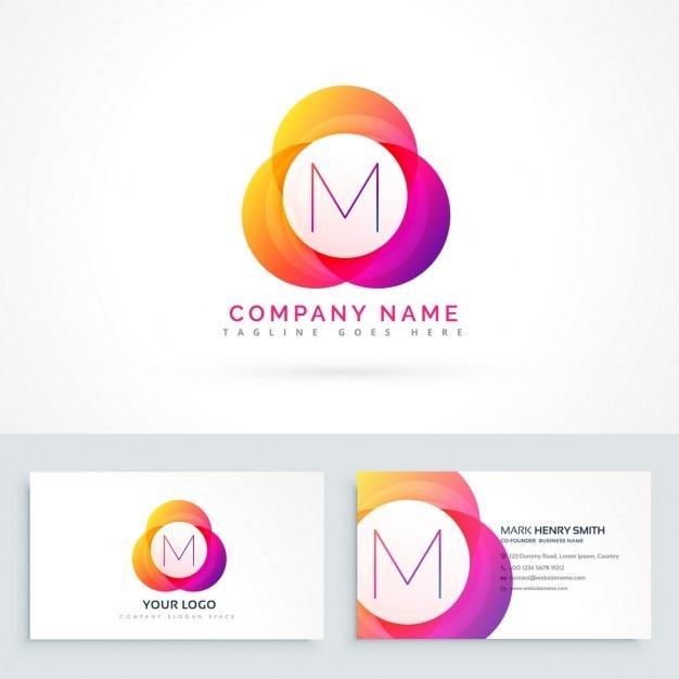Lettre M Logo Avec Le Modele De Carte Visite