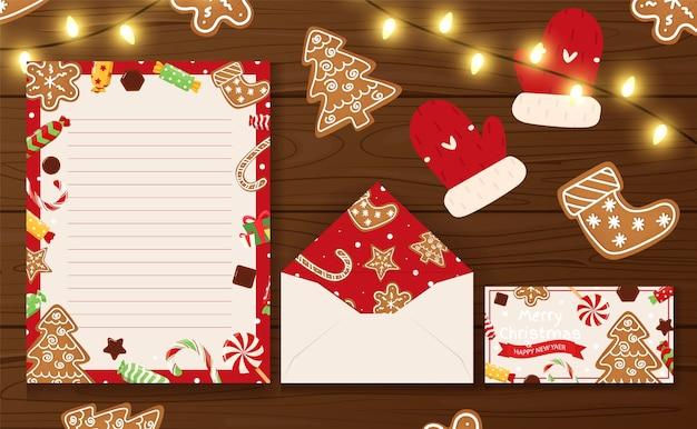 Lettre De Modèles De Noël Et Du Nouvel An Vecteur Premium