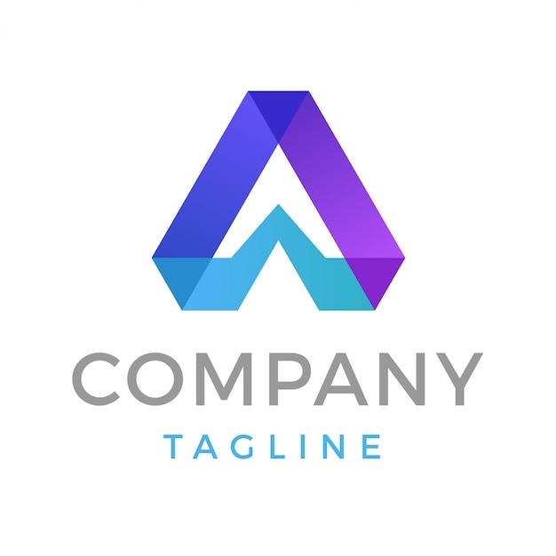 Lettre moderne abstraite a logo Vecteur Premium