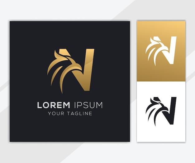 Lettre N Avec Modèle De Logo Aigle Abstrait De Luxe Vecteur Premium