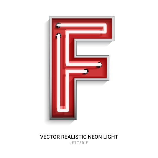 Lettre néon f Vecteur Premium