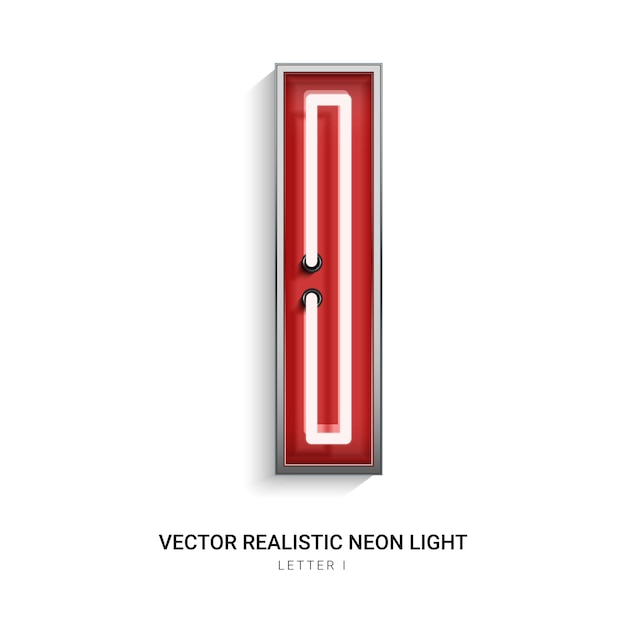 Lettre néon i Vecteur Premium
