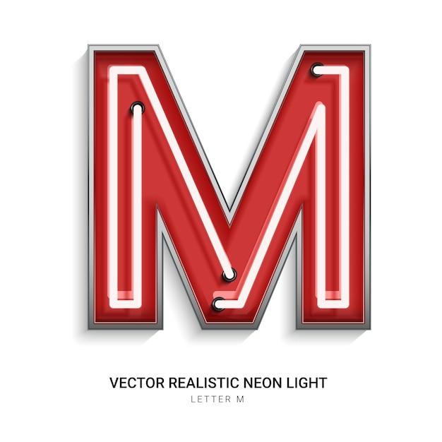 Lettre Néon M Vecteur Premium