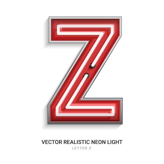 Lettre néon z Vecteur Premium