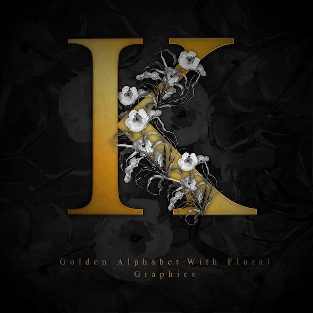 Lettre d'or k aquarelle fond floral Vecteur gratuit