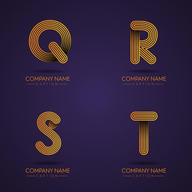 Lettre Professionnelle Qrst Logos De Style Empreinte Digitale Vecteur Premium
