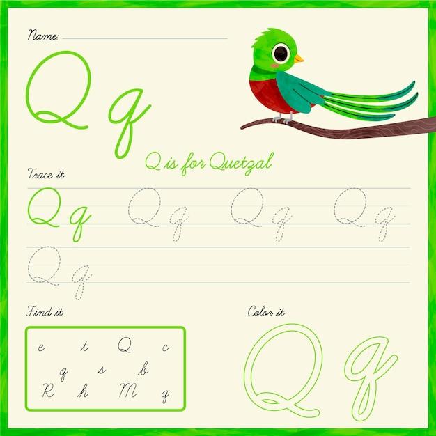 Lettre Q Feuille De Calcul Oiseau Quetzal Vecteur gratuit
