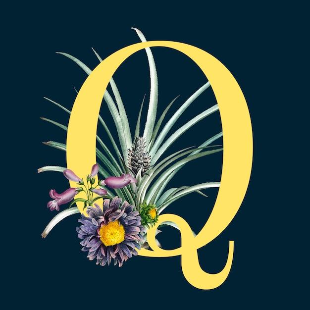 Lettre q avec des fleurs Vecteur gratuit