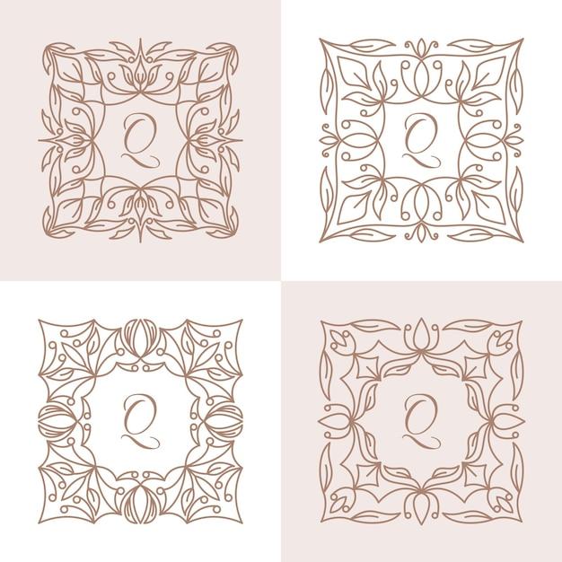 Lettre Q Avec Modèle De Logo De Cadre Floral Vecteur Premium