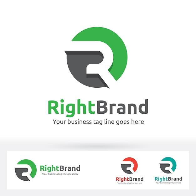 Lettre r logo, lettre r dans le cercle forme avec une ombre plate Vecteur Premium