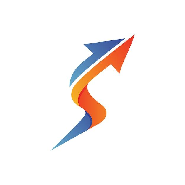 Lettre s flèche logo vecteur Vecteur Premium
