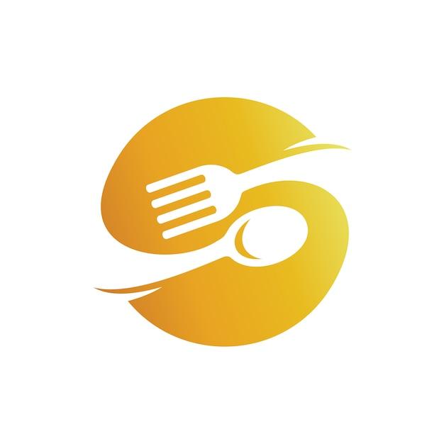 Lettre s avec logo cuillère et fourchette, logo vaisselle, logo restaurant de restauration rapide Vecteur Premium