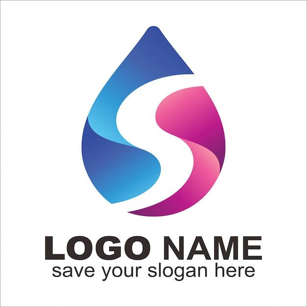 Lettre S Logo Eau Vecteur Premium