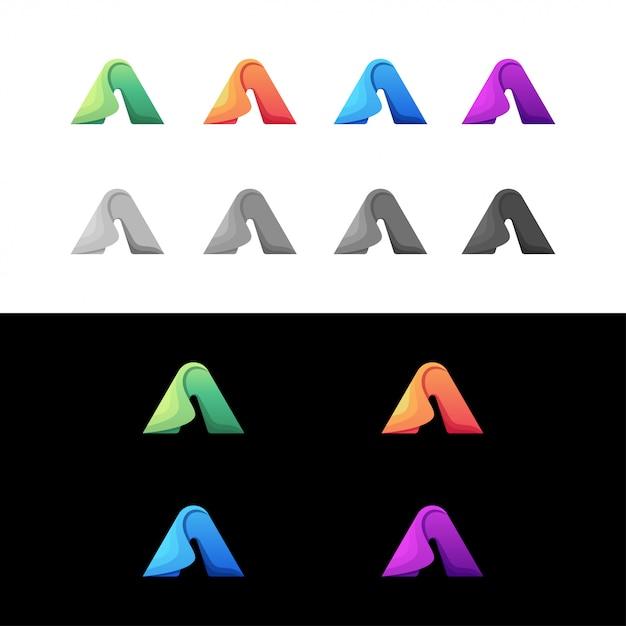 Lettre A Set Logo Coloré Vecteur Premium