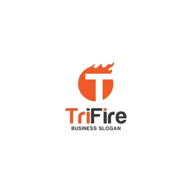 Lettre T Avec Le Logo D'incendie Vecteur gratuit