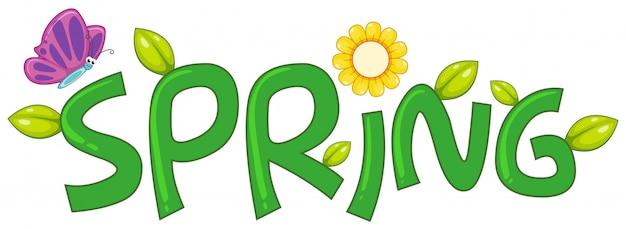 Une lettre de texte de printemps Vecteur gratuit