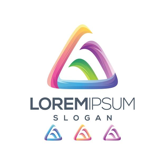 Lettre triangle logo dégradé couleur Vecteur Premium