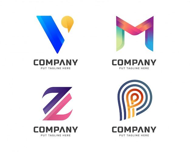 Lettre Type Type Créatif Logo Set Logo Pour Les Entreprises Vecteur Premium