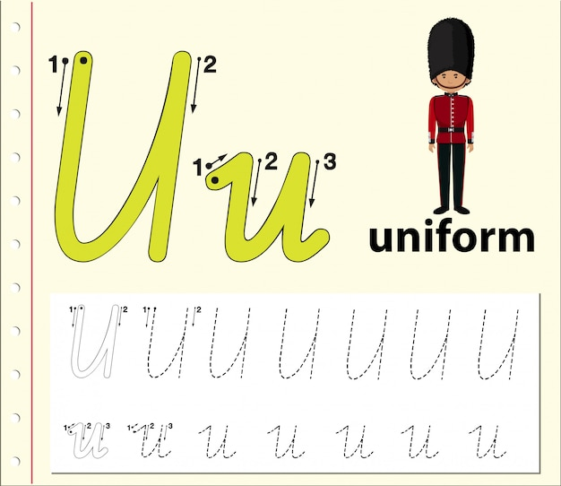 Lettre u traçant les feuilles de l'alphabet Vecteur Premium