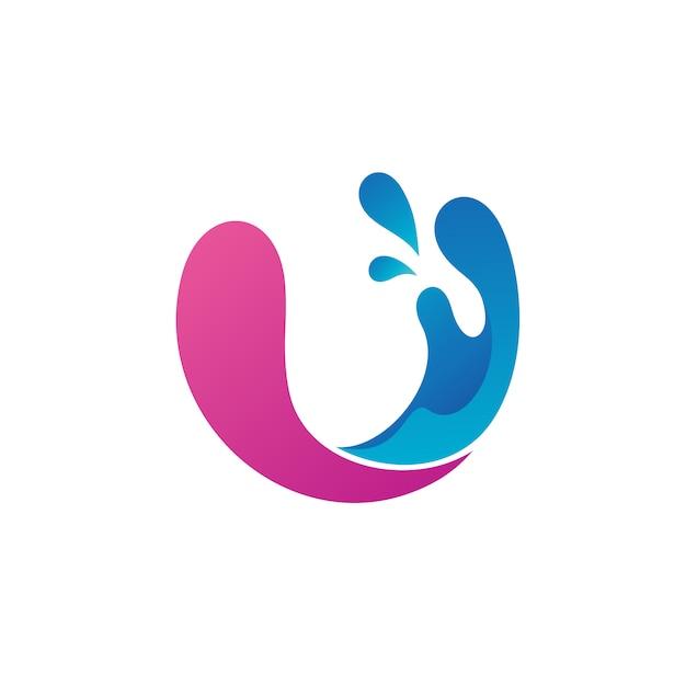 Lettre u avec vecteur d'eau splash logo Vecteur Premium