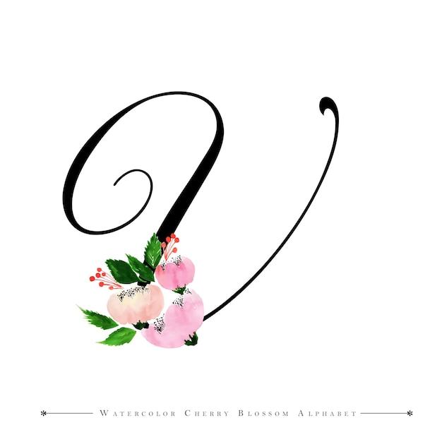 Lettre v aquarelle fond floral | Télécharger des Vecteurs Premium