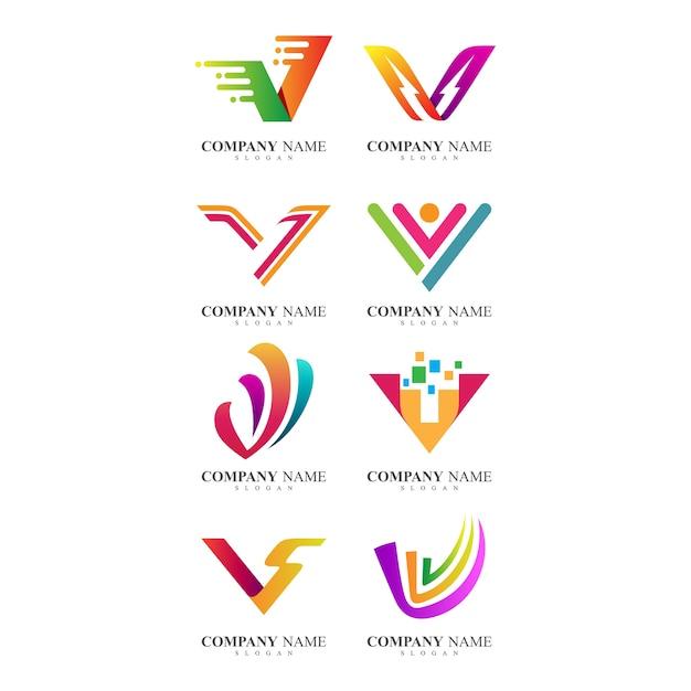 Lettre v identité de l'entreprise logo collection Vecteur Premium