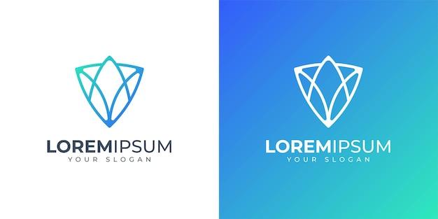Lettre A Et V Avec Inspiration De Conception De Logo Concept Bouclier Vecteur Premium