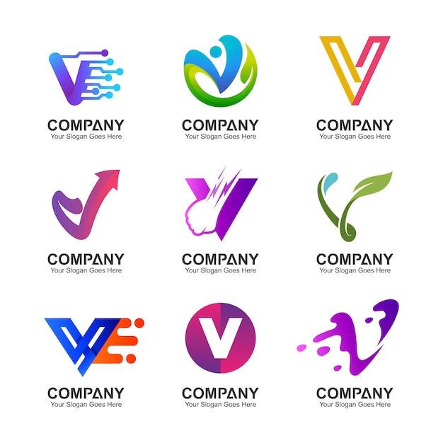 Lettre v logo set Vecteur Premium