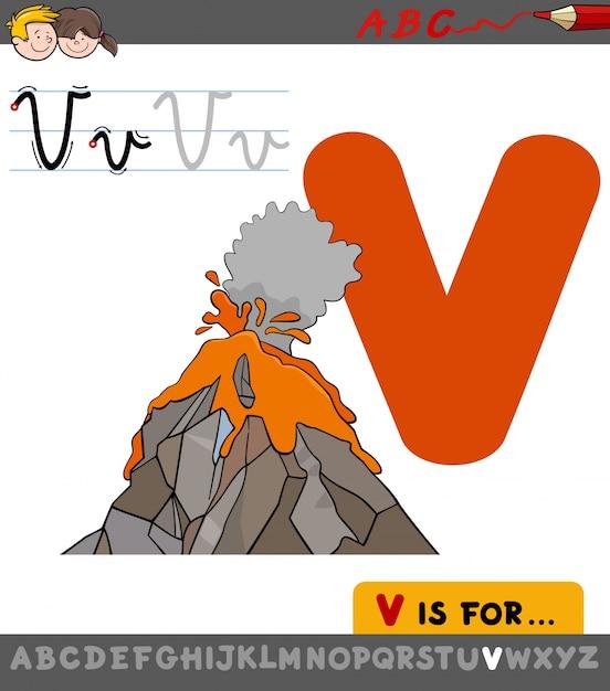 Lettre V Avec Le Volcan De Dessin Animé Télécharger Des Vecteurs