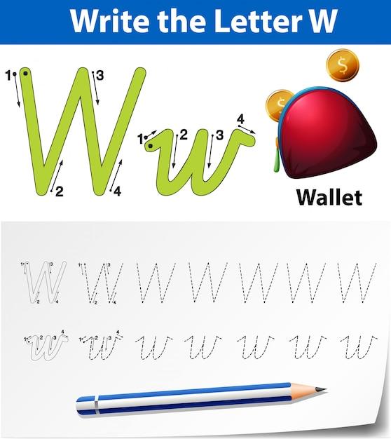 Lettre w traçant des feuilles d'alphabet Vecteur Premium