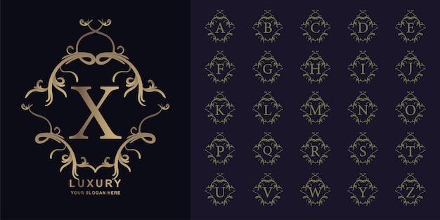 Lettre X Ou Alphabet Initial De Collection Avec Modèle De Logo Doré Cadre Floral Ornement De Luxe. Vecteur Premium