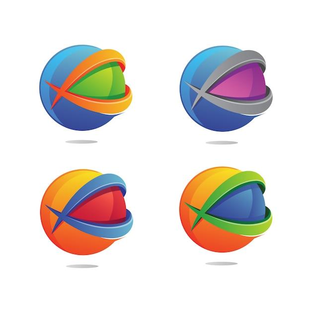 Lettre x avec logo globe Vecteur Premium
