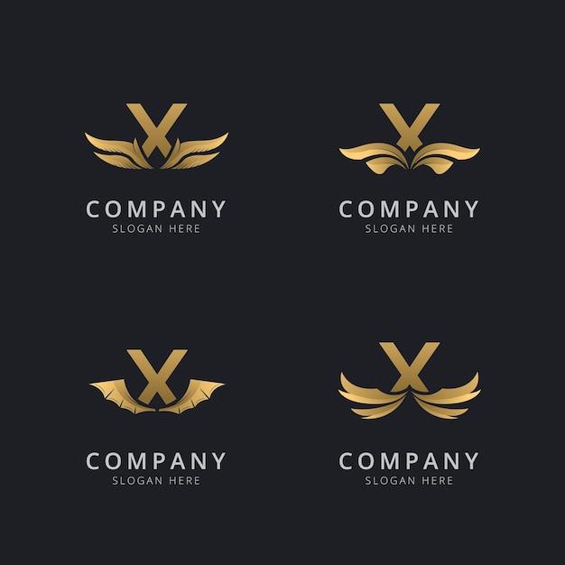 Lettre X Avec Modèle De Logo Aile Abstraite De Luxe Vecteur Premium