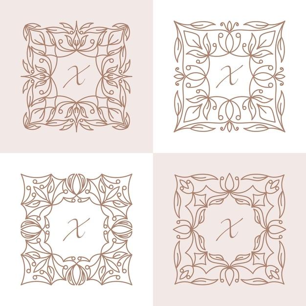 Lettre X Avec Modèle De Logo De Cadre Floral Vecteur Premium