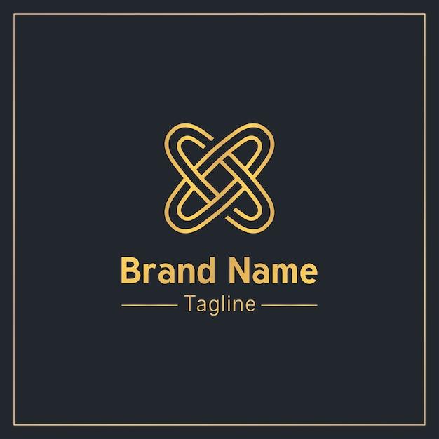 Lettre X Sous La Forme De Deux Anneaux Connectés Modèle De Logo Doré Vecteur Premium