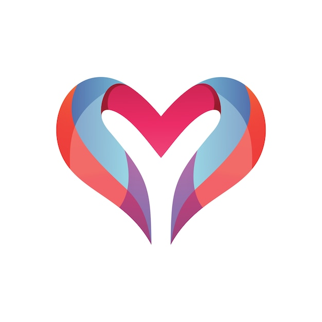 Lettre Y Et Love Logo Vecteur Premium