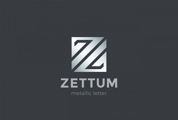 Lettre Z Forme Carrée Modèle De Conception De Logo Métallique. Corporate Financial Business Fashion Technologie Science Logotype Concept Icône Vecteur Premium