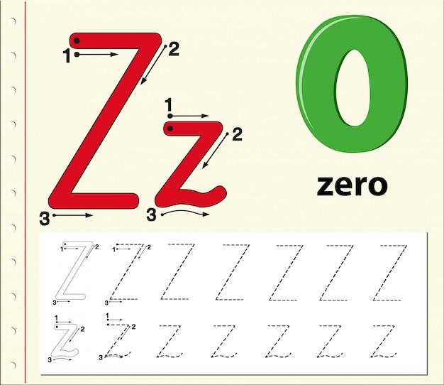 Lettre Z Traçant Les Feuilles De L'alphabet Vecteur Premium