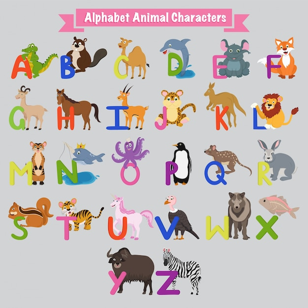 Lettres alphabet anglaises colorées de a à z avec des animaux. Vecteur Premium