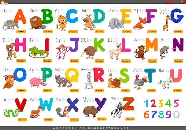 Lettres de l'alphabet éducatif pour apprendre Vecteur Premium