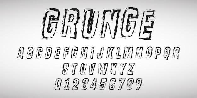 Lettres De L'alphabet Et Numéros De Dessin Grunge Vecteur Premium