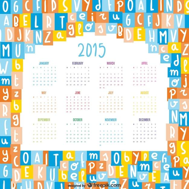 Lettres de l'alphabet se mélangent 2015 calendrier vecteur Vecteur gratuit