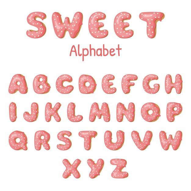Lettres de beignet dessinés à la main. Vecteur Premium