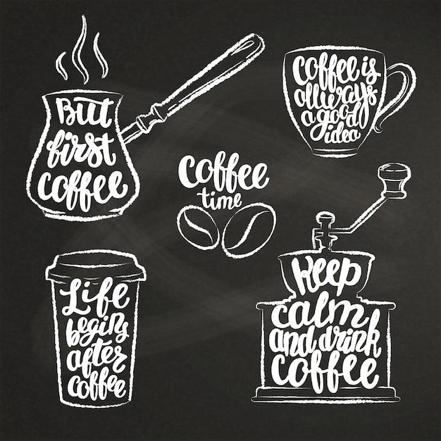 Lettres de café dans la tasse, moulin, formes de craie de pot. Vecteur Premium