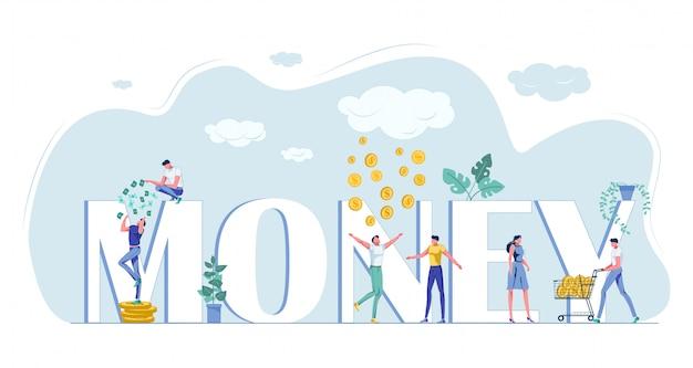 Lettres De La Capitale De L'argent Et Heureux Petit Peuple Riche Vecteur Premium