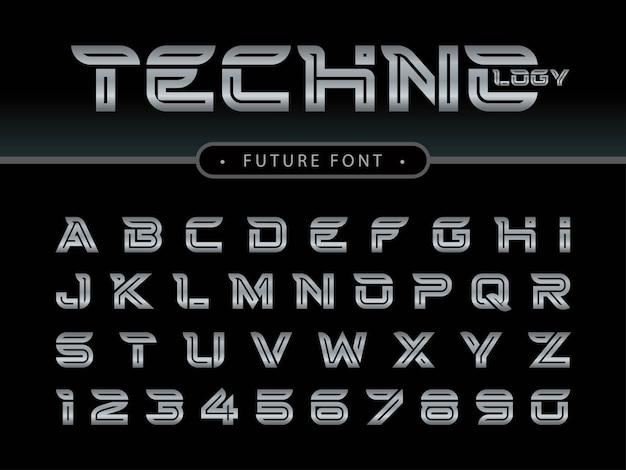 Lettres et chiffres de l'alphabet futuriste, polices stylisées future techno Vecteur Premium
